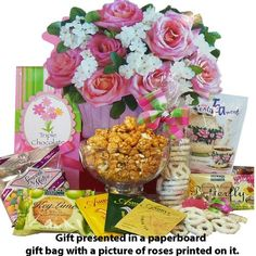 Art of Appreciation Gift Baskets Blooming Gift Bag of Tea, Sweets and Treats - Tony's Gifts Gourmet Gifts, Food Gifts, Toffee Popcorn, First Mothers Day Gifts, Mother's Day Gift Baskets, Tea Snacks, Get Well Gifts, Tea Gifts, Chocolate Gifts