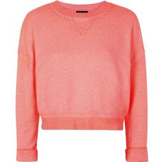 TOPSHOP Cropped Burnout Sweat ($24) ❤ liked on Polyvore featuring tops, hoodies, sweatshirts, fluro pink, red sweatshirt, cotton summer tops, red crop top, summer tops and topshop