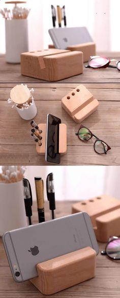 Portable Wood Desktop Cell Phone Holder Pen Pencil Stand