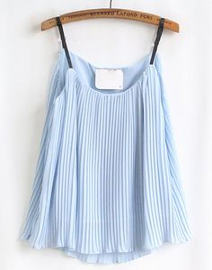 Blue Pleated Chiffon Vest - Sheinside.com