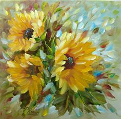 Original Sunflowers Oil Painting Canvas Floral by PRollinsArt