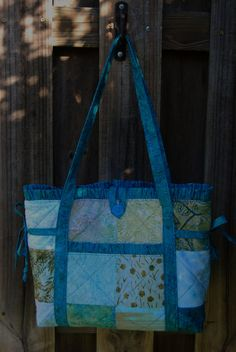Quilted Patchwork Tote Bag Shoulder Bag Aqua by SewYoungAtHeart, $45.00