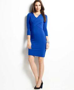 Crepe Crossover 3/4 Sleeve Dress | Ann Taylor