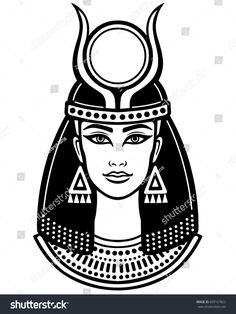 Animation portrait of the ancient Egyptian horned goddess. The linear drawing isolated on a white background. Egyptian Queen Tattoos, Egyptian Drawings, Egyptian Tattoo, Ancient Egyptian Art, Egyptian Goddess, Dog Tattoos, Script Tattoos, Arabic Tattoos, Queen Drawing