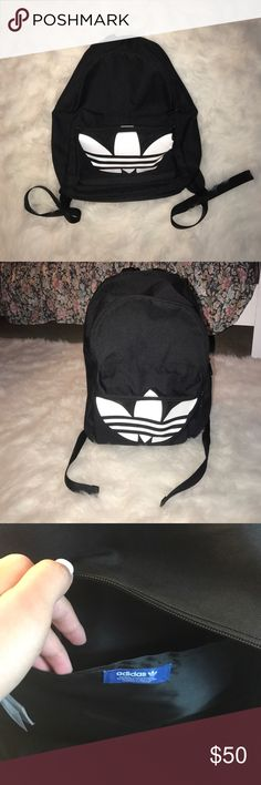 Adidas Backpack Black adidas backpack. Perfect for a school bag. Has a laptop insert and is slightly padded. Has a zipper close front pocket and adjustable straps. Let me know if you have questions! adidas Bags Backpacks