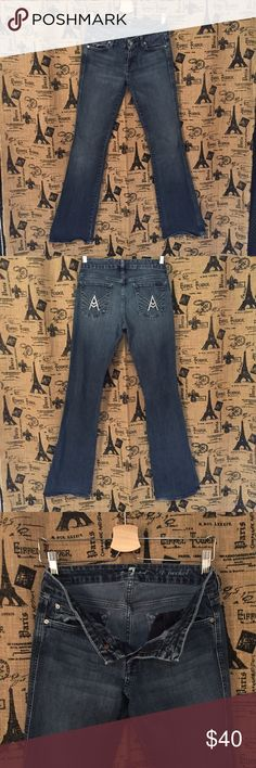 """7 For All Man Kind A Pocket Boot Cut Size 29 Style: A Pocket, Boot Cut, slight bottom fray, Jeweled A on pocket (missing a few stones, barely noticeable (see picture) Fabric: 98% cotton, 2% spandex Waist 31"""" Hip 34"""" Rise 8"""" Inseam 33"""" Item #1411 7 For All Mankind Jeans Boot Cut"""