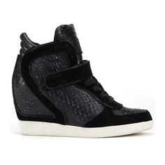 Ash Women's Brendy Leather Snake Print Wedged Trainers - Black ($295) ❤ liked on Polyvore featuring shoes, sneakers, black, black leather sneakers, wedge sneakers, leather sneakers, black leather high tops and black hi top sneakers