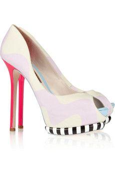 LOVE!!! Sophia Webster   Karlie brushed-satin and leather peep-toe pumps    NET-A-PORTER.COM
