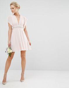Image 4 ofTFNC Petite Wedding Fluted Sleeve Embellished Waist Mini Dress
