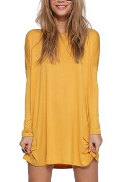 Long Sleeve Shirt Dress In Yellow