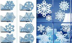 papier schneeflocken bastelanleitung weihnachten fensterdeko schablonen