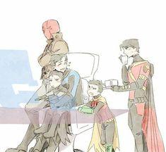 Mini Batman and his children Superhero Family, Superhero Memes, Bat Family, Superman X Batman, Batman Robin, Damian Wayne, Univers Dc, Bat Boys, Dibujos Cute