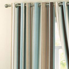 Dreams 'N' Drapes Whitworth Stripe Eyelet Lined Curtains, Duck Egg Blue, 66 x 90 Inch