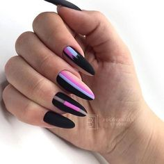 66 Hot Trend Black Almond Nails Design in 2019 - chic better - Trendy Nail Art - Beauty Tips and Tricks Hair And Nails, My Nails, Black Almond Nails, American Nails, Edge Nails, Almond Nails Designs, Ballerina Nails, Pin On, Halloween Nail Art