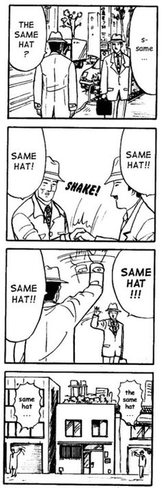"42 Ridiculous Out-Of-Context Panels From Anime And Manga ""Same hat! xD"""