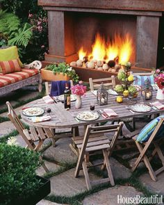Outdoor Dining Room With Fireplace