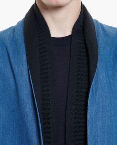 155dede938 Stephan Schneider Denim Jacket With Scarf Collar in Blue for Men