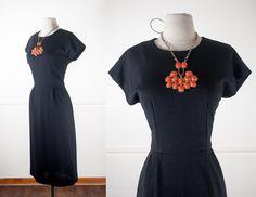 Vintage 60s Black Knit Dress / Black Dress / 60s Mod Dress / Mod Shift Dress / Mid Century Modern Day Dress / 60s Dress / LBD / Minimalist by BlueHorizonVintage on Etsy #60s #dress #black #lbd #retro #midcentury #wiggle #minimalist #vintage #etsy