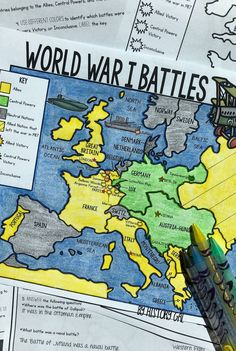 This World War I Battles map activity from History Gal will help students become. - Amy's World History Classroom, History Teachers, Teaching History, History Education, Modern World History, British History, American History, Map Worksheets, Map Activities