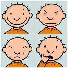 Jules emotions: BLIJ, BOOS, BANG, VERDRIETIG, afschuw of verrast? Ontdek de taal van emoties. TIP's op www.LEKKER-in-je-VEL-spel.nl