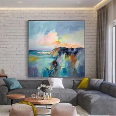- Wall Art Ideas - Original acrylic gold landscape Abstract painting on canvas wall art pictures for living room home decor blue thick texture seascape decor Original or acrylique paysage peinture abstraite sur toile Metal Tree Wall Art, Framed Wall Art, Canvas Wall Art, Blue Painting, Oil Painting On Canvas, Abstract Painting Ideas On Canvas, Painting Clouds, Abstract Landscape Painting, Large Painting