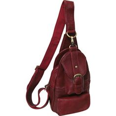 AmeriLeather Grylls Petite Sling Purse - Burgundy - Backpack Handbags ($56) ❤ liked on Polyvore featuring bags, backpacks, red, red backpack, cowhide backpack, sling bag, burgundy bag and day pack backpack