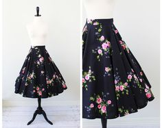 vintage 1950s 50s skirt circle skirt // Black and Painted Pink Roses Floral Circle Skirt  $72