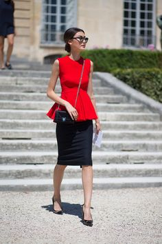 dressy red peplum top and black pencil skirt