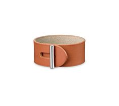 "Hydra Hermes leather bracelet (size M)  Natural/sand cowhidePalladium plated hardware, 7"" circumference."