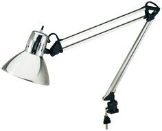 V-LIGHT Architect-Style CFL Swing-Arm Task Lamp with Non-Skid Table/Desk Clamp, Brushed Nickel (CAEN804C)