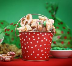 Christmas Crunch- chex, mini pretzels, salted dry roasted peanuts, package of m&m;'s...mix with white bark coating.....sugar heaven