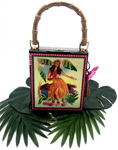 """The """"Retro Hula Girl"""" Clutch — Darling Clutch Company Products - Darling Clutch Company Gag Gifts, Funny Gifts, Cigar Box Crafts, Altered Cigar Boxes, Silk Orchids, Elephant Birthday, Hula Girl, Gifts For Boss, Neighbor Gifts"""