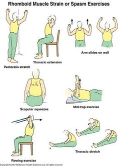 Upper Back Pain Relief Exercises For more upper back pain management tips Rhomboid Exercises, Scoliosis Exercises, Hip Stretches, Stretching Exercises, Upper Back Pain Exercises, Floor Exercises, Workout Exercises, Workouts, Fitness Exercises
