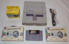 Super Nintendo Console Lot 2 Controllers Super Mario All Stars Game SNES Clean #Nintendo