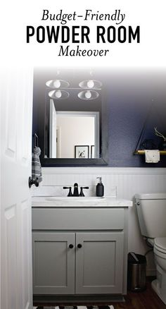 This moody and dark bathroom makeover reveal is STUNNING! Between the navy wall color, updated mirror, faux countertops, and matte black accessories, this whole small powder room turned out amazing. Dark Bathrooms, Chic Bathrooms, Amazing Bathrooms, Small Bathroom, Bathroom Black, Downstairs Bathroom, Bathroom Layout, Bathroom Interior, Bathroom Ideas