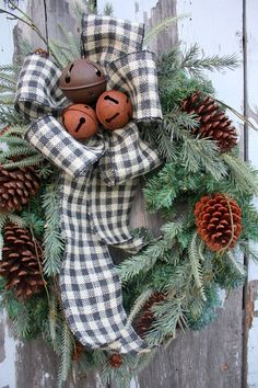 Christmas <b>Wreath</b>, MIxed Pine, Pine Cones, Rusty <b>Jingle</b> <b>Bells</b>, Black ...
