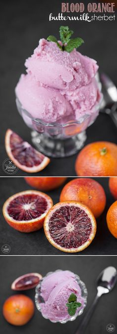 Four simple ingredients transform into this gorgeous, sweet, tangy and vibrant frozen dessert, creating a delicious BLOOD ORANGE BUTTERMILK SHERBET! #bloodorange #sherbet #citrus