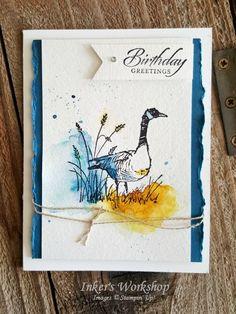 Birthday Goose! Wetlands watercolor card, masculine birthday. Inker's Workshop 2017