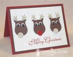 Stampin' Up! reindeer card – Hand Stamped Cards with Josee Smuck-Stampin' Up! Stamped Christmas Cards, Stampin Up Christmas, Christmas Cards To Make, Noel Christmas, Xmas Cards, Holiday Cards, Christmas Snacks, Christmas Greetings, Owl Punch Cards