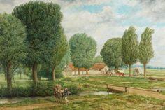 Wilhelm Altheim, *1871 Groß-Gerau Gehöft mit Pappeln,