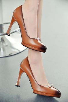Pump - Brown and Black sexy Stiletto square high heels pumps - $124.99 ONLY @shoesofexception #fashion #tredny #dapper #pumps