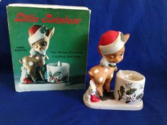 Vintage Little Reindeer Candle Holder by Jasco with Box and Candle 1978