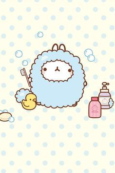 "Molang Taking a ""bubble bath"""