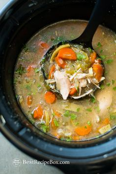 Wonderful Slow Cooker Chicken Vegetable Soup Recipe to warm your soul and bellies on @bestrecipebox