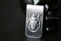 Scarab Money Clip  Egyptian Beetles Antique by blackpersimmons