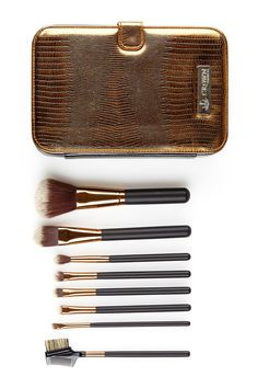 Elite Syntho Gold 8-Piece Set with Deluxe Travel Case by Crown Brush