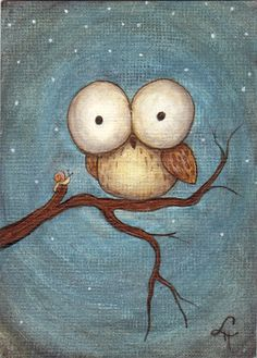 owl with huuuuuge eyes::: 'Owl and Snail' by Lola Edgar