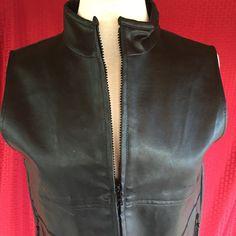 Arizona Jean Co Sz L Black Vinyl Zipper Vest #ArizonaJeanCo