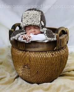 Loom Knit Aviator Hat For Baby Pattern:  PATTERN ONLY! Directions for Aviator Hat in two sizes (newborn & 3 month+)