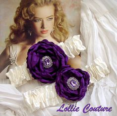 Purple wedding garters  Pour mon amour  wedding by lolliecouture